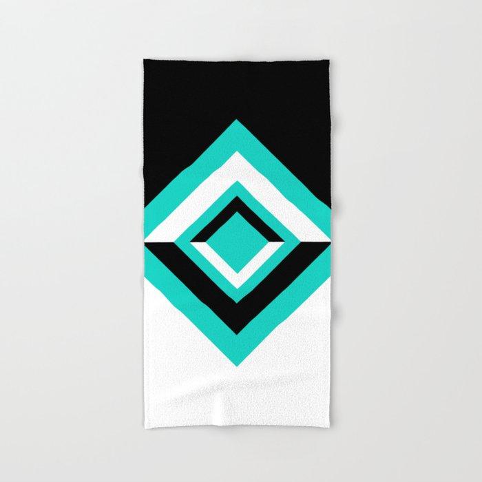 Teal Black and White Diamond Shapes Digital Illustration - Artwork Hand & Bath Towel