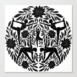 Yoga Girls Illustration with Lotus Flowers and Leaves // Black and White Canvas Print