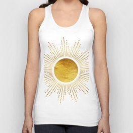 Golden Sunburst Starburst Noir Unisex Tank Top