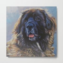Leonberger dog art portrait from an original painting by L.A.Shepard Metal Print