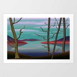 Spring Trees By A Lake. Art Print