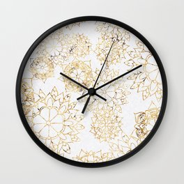 Modern hand painted brown yellow watercolor floral illustration Wall Clock