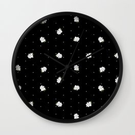 Gardenia pattern black Wall Clock
