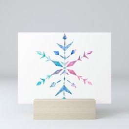 Watercolor Snowflake colorful Mini Art Print