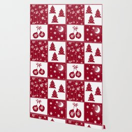 Bright red and white Christmas background Wallpaper