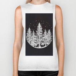 Trees in a Winter Forest Biker Tank