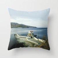 greek Throw Pillows featuring Greek landscape by MarioGuti