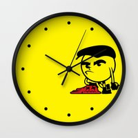 pac man Wall Clocks featuring Pac-Man by La Manette