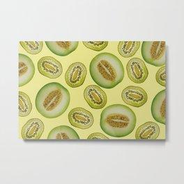 Kiwi - Honey Melon pattern yellow Metal Print
