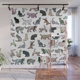 Cats shaped Marble - White Wall Mural