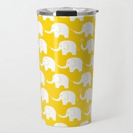 Elephant Parade on Yellow Travel Mug