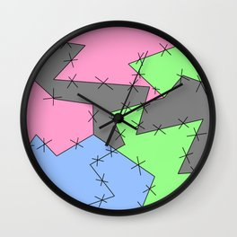 Freestyle Stitches - Gray, Pink, Green Wall Clock