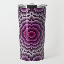 Purple abstract flowers kaleidoscope Travel Mug
