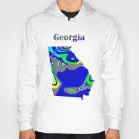 georgia Hoodies featuring Georgia Map by Roger Wedegis