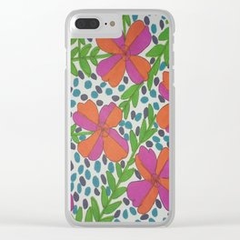 Jungle Rain Flowers Clear iPhone Case