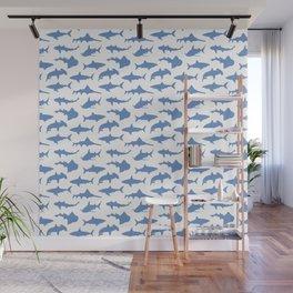 Sharks in Danube Blue Wall Mural