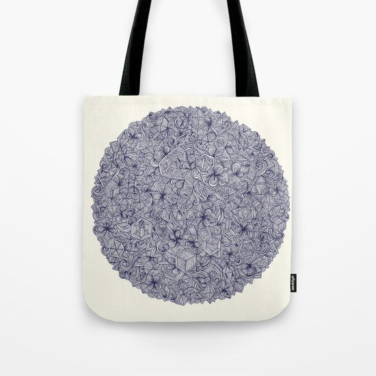 Held Together - a pattern of navy blue doodles Tote Bag