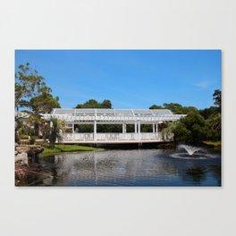 Charming White Wooden Bridge Canvas Print