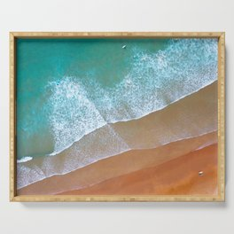 Aerial surf day, Turquoise sea, ocean, coast, Atlantic, Portugal, beach, waves, sea, prints, project Serving Tray