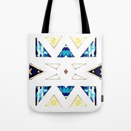 Triangular Pattern in Gold, Black and Blue Tote Bag