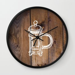 Farmhouse Chic Primitive Barnboard French Press Roasted Coffee Brewer  Wall Clock