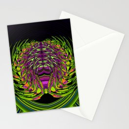 Green Spider In A Bubble - purple background Stationery Cards