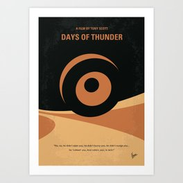 No332 My DAYS OF THUNDER minimal movie poster Art Print