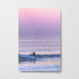 Ride the Wave - Japanese Sufer on Shonan Beach at Dusk Metal Print