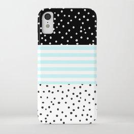 Modern black white teal stripes watercolor polka dots iPhone Case