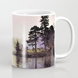 Pines along the Lake in the Mist, Lake District, UK. Watercolor Painting Coffee Mug