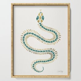 Snake Skeleton – Emerald & Gold Serving Tray