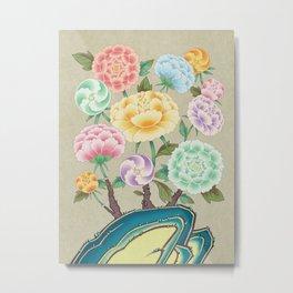 Minhwa: Peony Flowers and Rock Type A  (Korean traditional/folk art) Metal Print