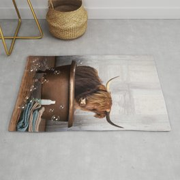 Highland Cow in the Tub Rug