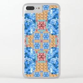 Vibrant Dinosaur Pixel Quilt Clear iPhone Case