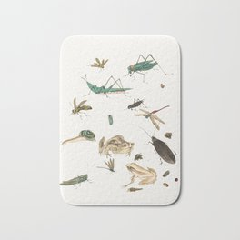Insects, frogs and a snail Bath Mat