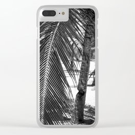 Palm Tree on Beach in Black and White Clear iPhone Case