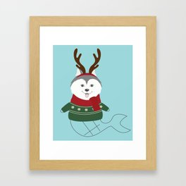 Happy Pet in Ugly Christmas Sweaters Framed Art Print