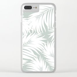Palm Tree Fronds White on Rainwashed Maui Hawaii Tropical Graphic Design Clear iPhone Case