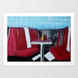American Diner Impressionist Acrylic Fine Art Art Print