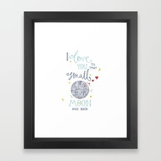 Star Wars 'I Love You To That Small Moon & Back' Watercolour Illustration Framed Art Print