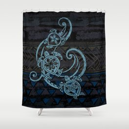 Hawaiian Teal Tribal Turtles Shower Curtain