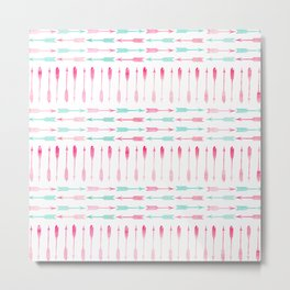 Trendy pink teal watercolor arrows pattern Metal Print
