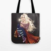 luna lovegood Tote Bags featuring Luna Lovegood by Laure Lilyvale