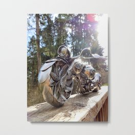 The Owl Shines On- Spoon Motorcycle by James Rice Metal Print