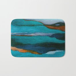 """""""a dark february redux1"""" abstract watercolor painting Bath Mat"""