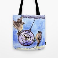clock Tote Bags featuring Clock by Anna Shell