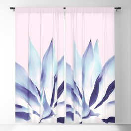 Solar Agave - Pastel blue on pink Blackout Curtain