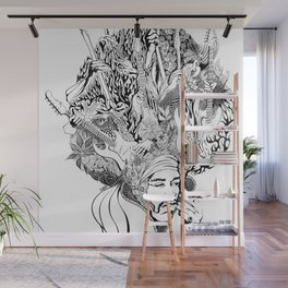 Handdrawn psychedelic Jimi Hendrix black and white portrait illustration Wall Mural