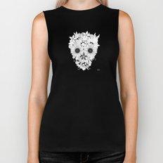 Skull Flowers white - grey Biker Tank