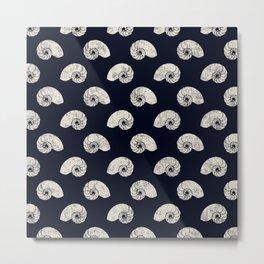 Navy blue maritime sea shell pattern Metal Print